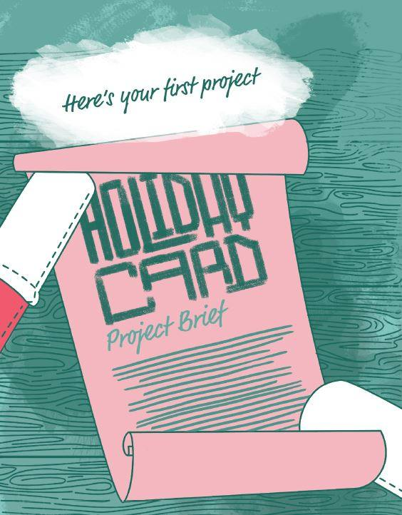 A graphic of holiday card project brief.