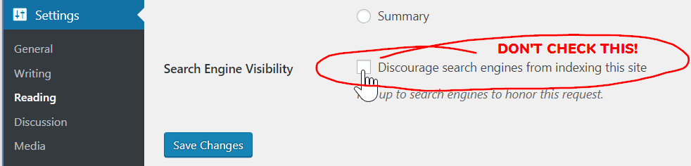 "A screenshot of the WordPress Reading Settings panel, with ""Discourage search engines from indexing this site"" disabled."