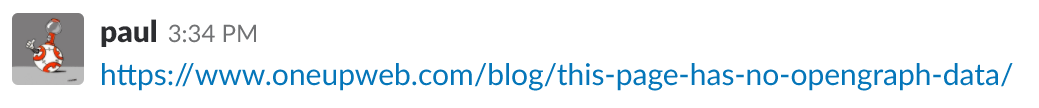 A URL being shared on Slack that has not provided OpenGraph data.
