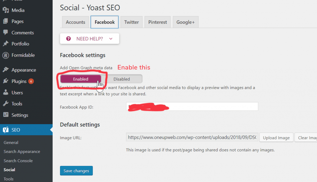 A screenshot of the Yoast SEO Social settings panel, with OpenGraph meta tags turned on.