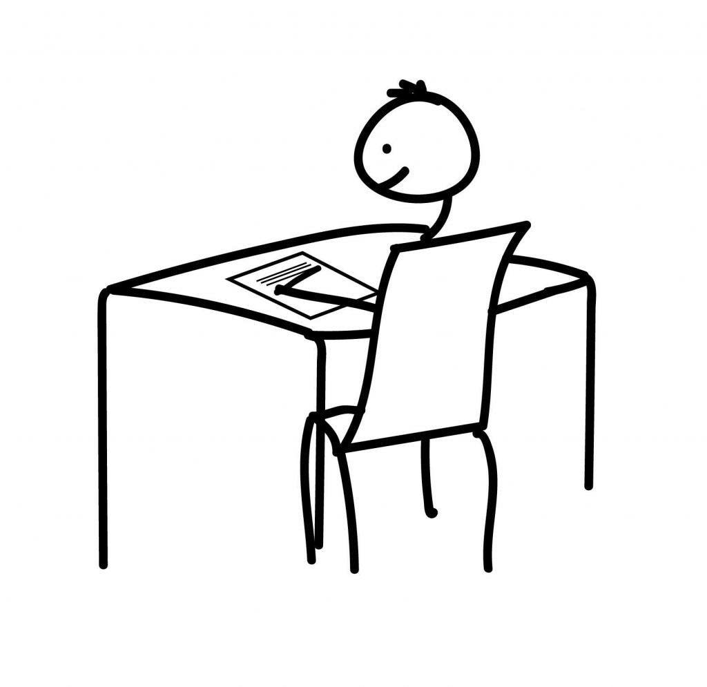 Stick figure sitting down to write a letter