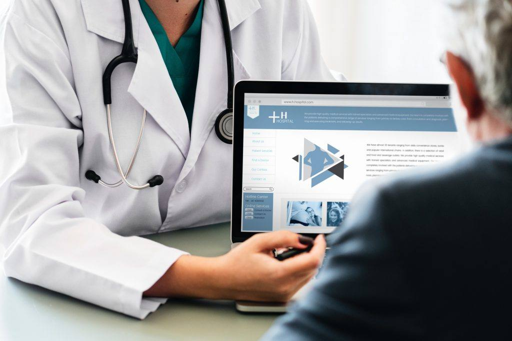Doctor shows his healthcare website