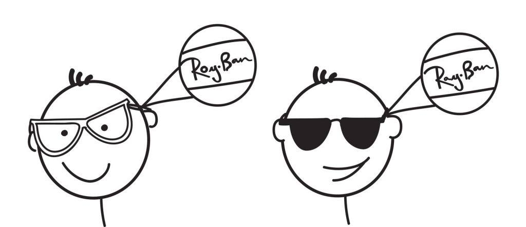 line drawings of two male heads, one whose eyes are visible and one whose eyes are covered by black sunglasses