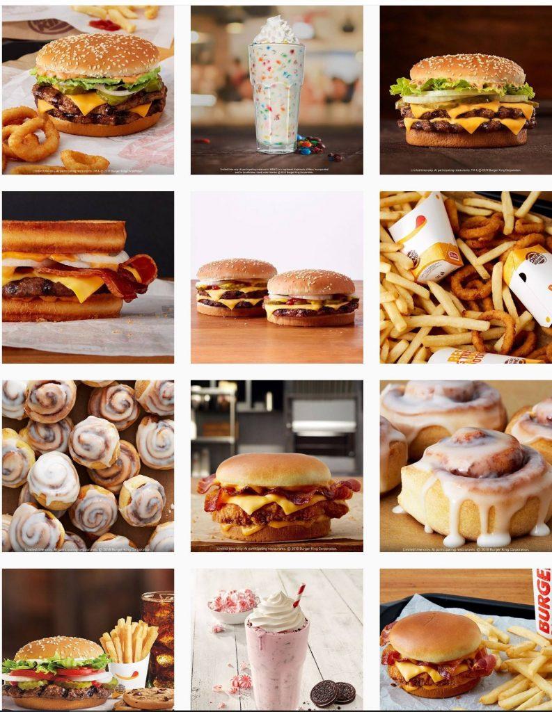 screenshot of burger king's instagram feed