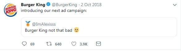 screenshot of tweet from burger king replying to another user