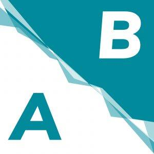 split image of an A and B