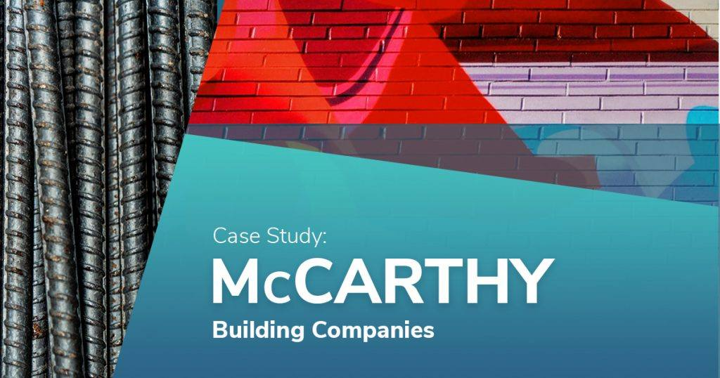 graphic design with silver, red and blue sections and text reading case study mccarthy building companies in the blue section