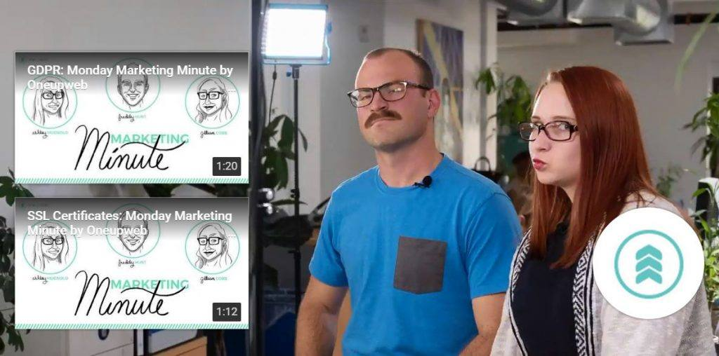 youtube end screen featuring monday marketing minutes as well as freddy and ashley's faces