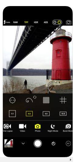 screenshot of procam app screen with photo of lighthouse open on the app