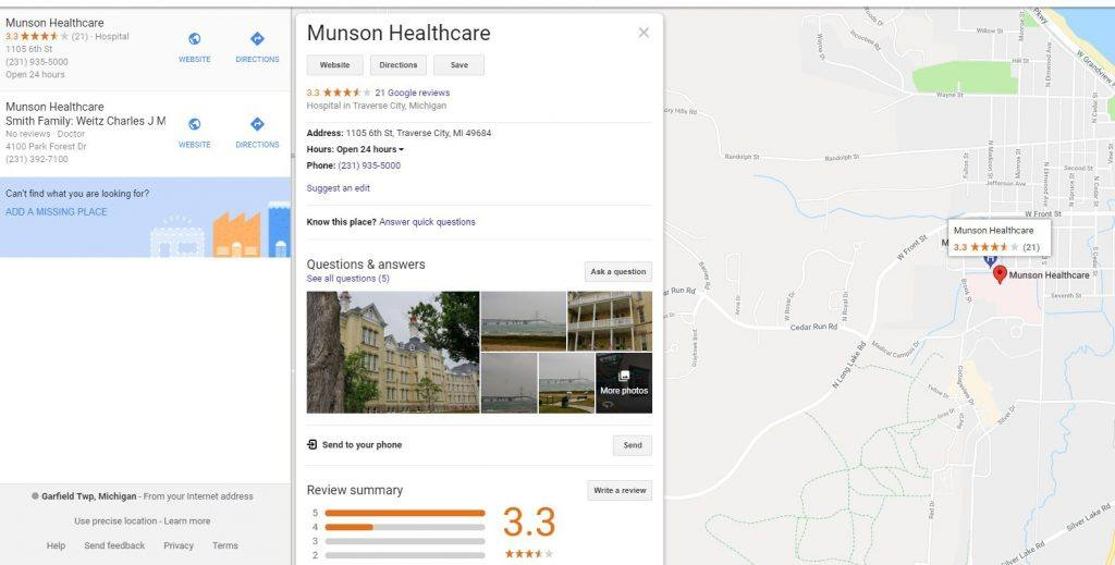 munson healthcare google my business maps