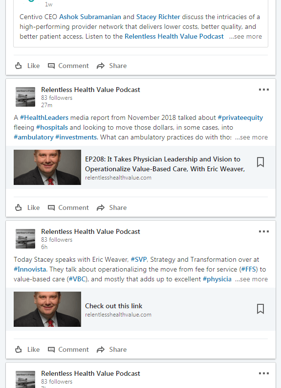 relentless health value podcast linkedin