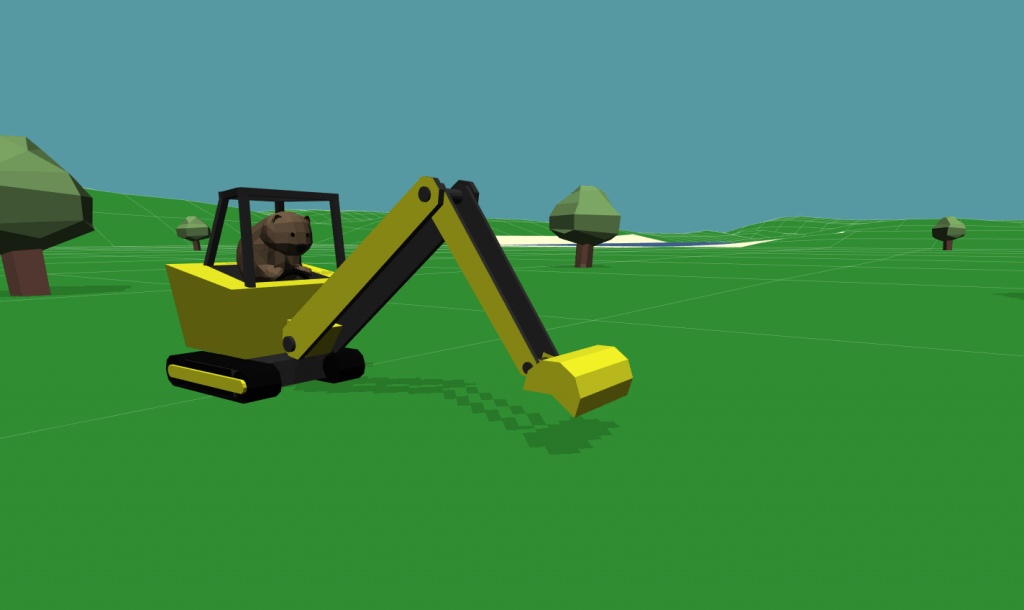 graphic design of beaver driving a digger in the middle of a virtual field