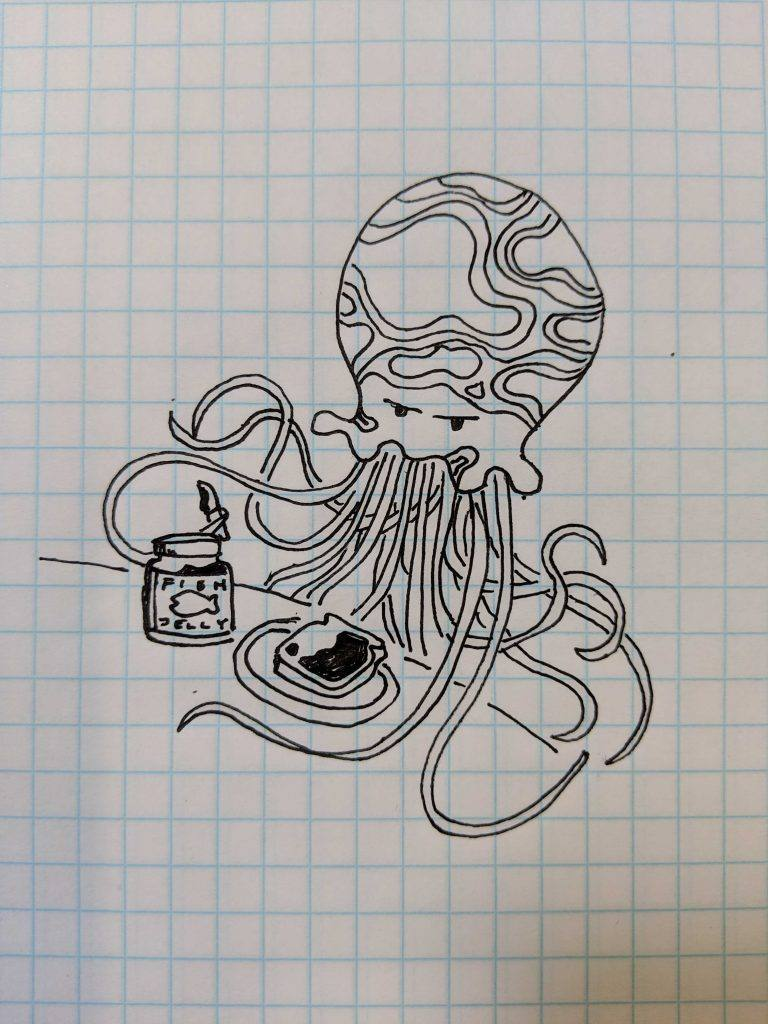 drawing on graph paper of octopus making a sandwich