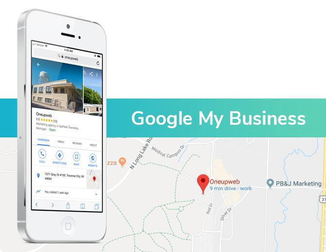 google my business map with phone