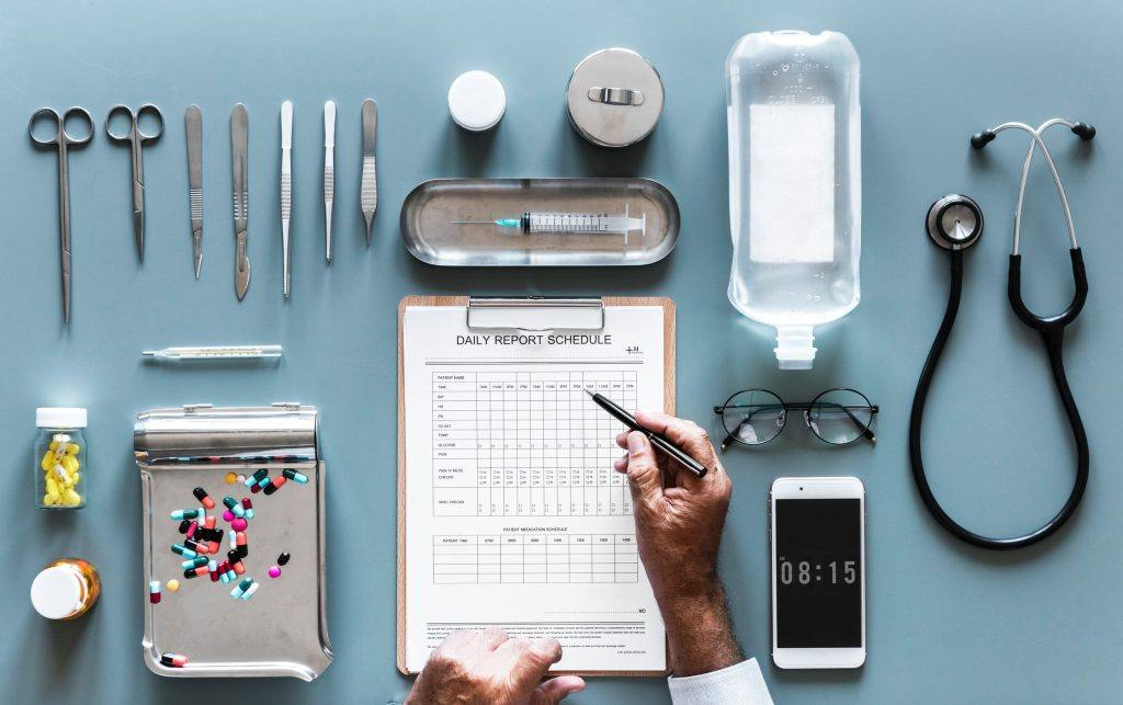 doctor schedule with various medical tools