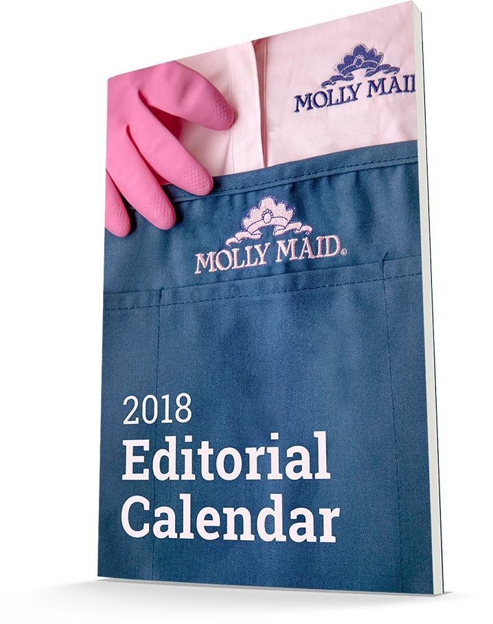 book cover with molly maid uniform and text reading 2018 editorial calendar