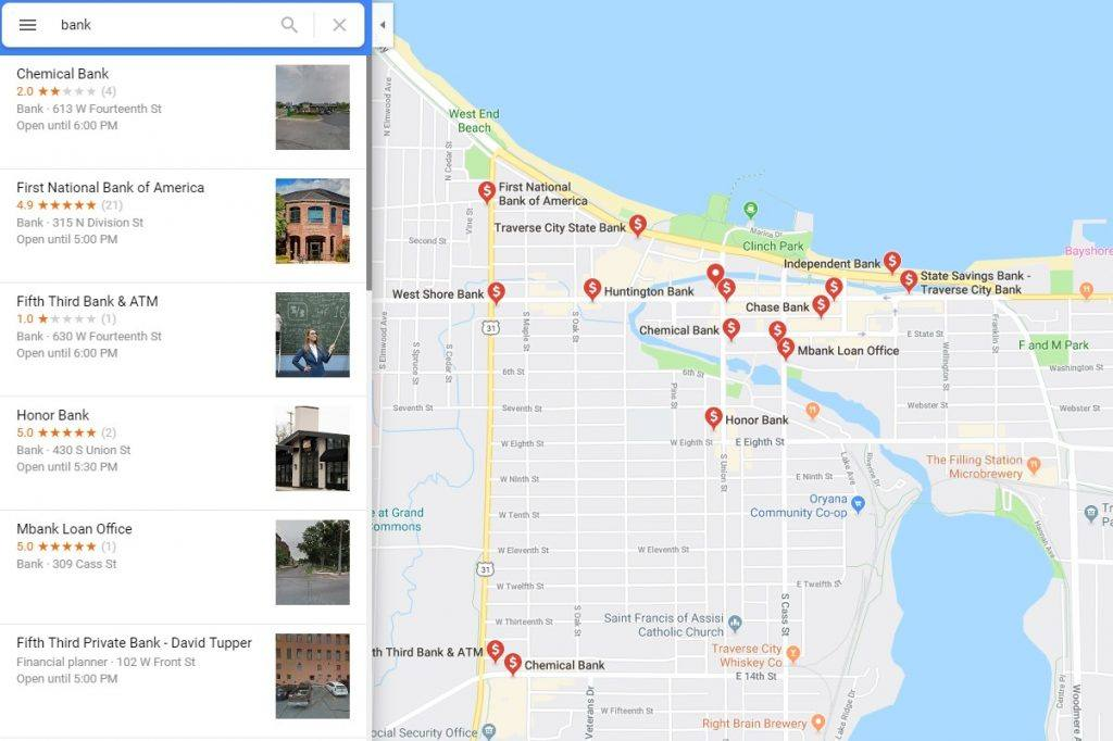 google local listings screenshot with map