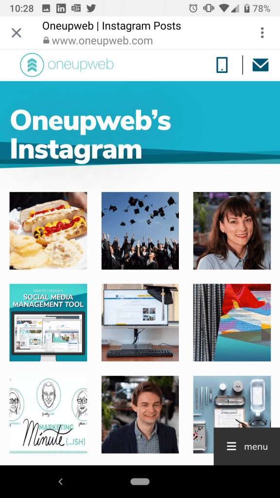 oneupweb instagram category landing page