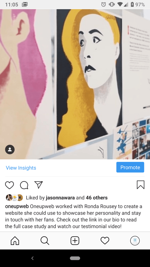 screenshot of instagram post from oneupweb with paintings of woman taped to a wall