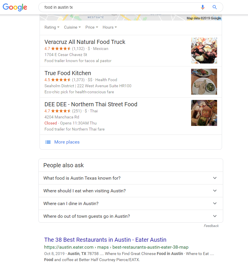 serp results for food in austin tx