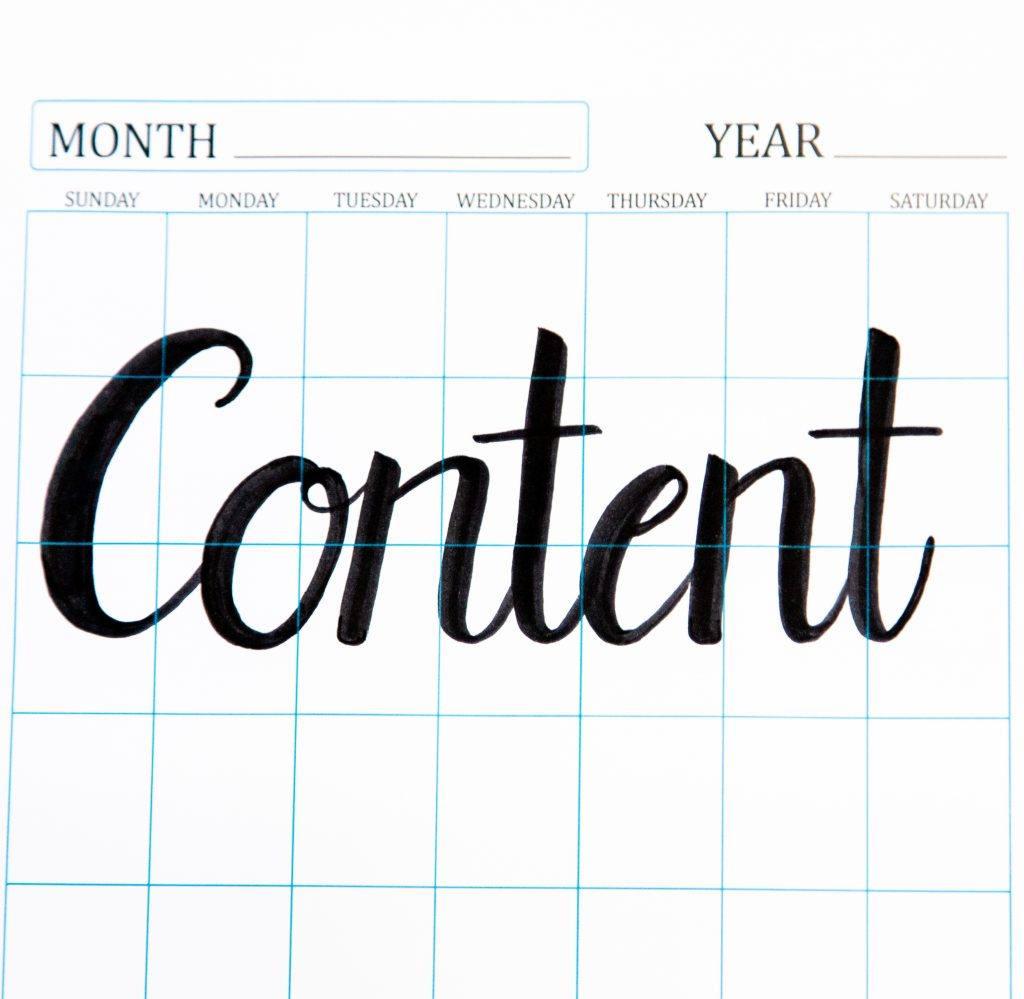 content written on a calendar