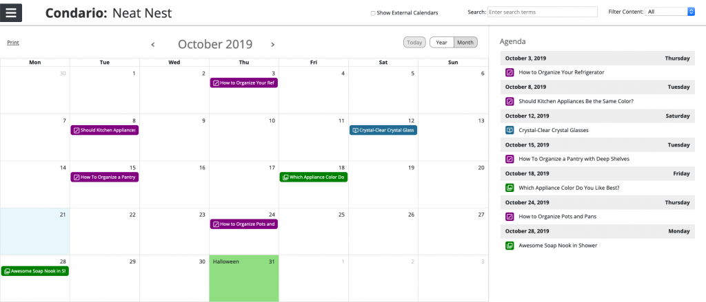 example of the oneupweb content calendar