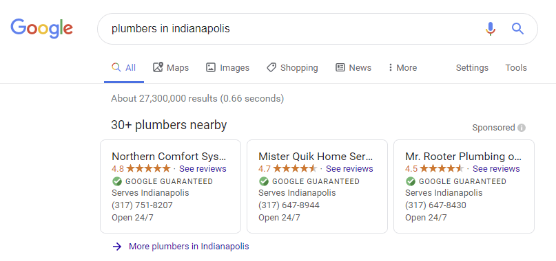 an example of how google guaranteed on the serp