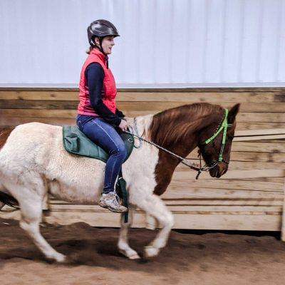 woman riding a brown and white horse