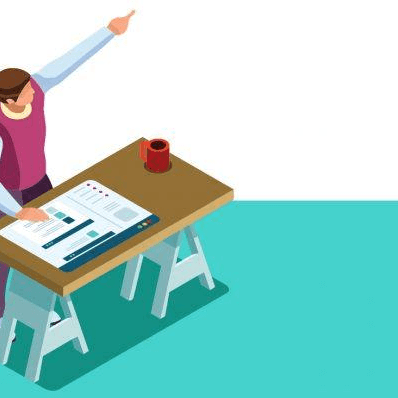 Illustration of man standing at a desk and pointing into the distance