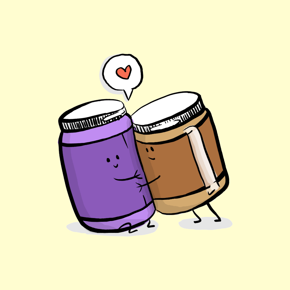 Cartoon illustration of peanut butter and jelly jars giving each other a hug