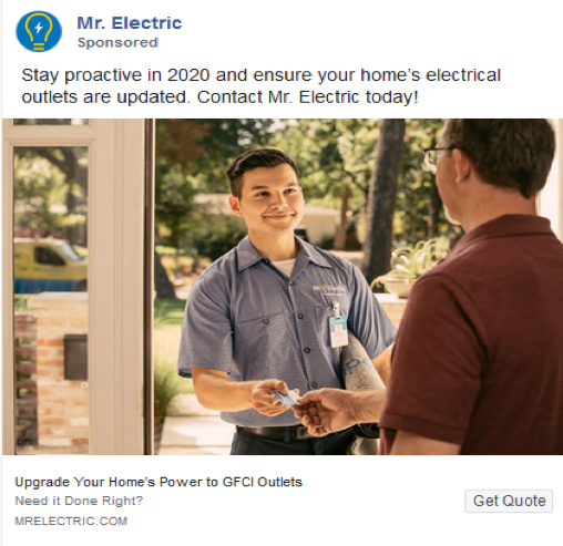 a corporate social and display advertisement for mr electric franchise