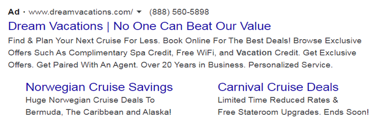 an example of a local search ad for franchisees