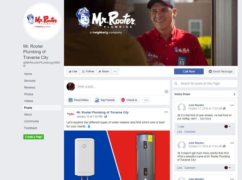 mr rooter of traverse city has a great local franchisee facebook page