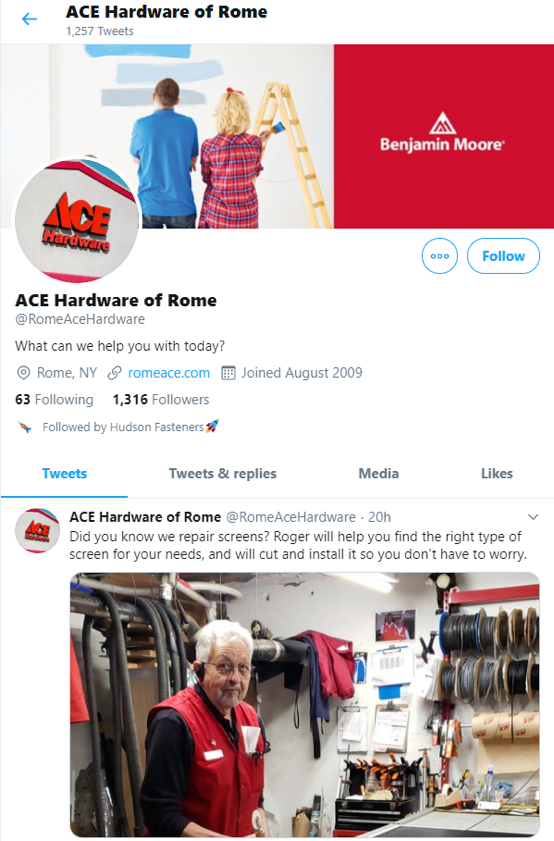 this twitter profile is a good franchisee profile page