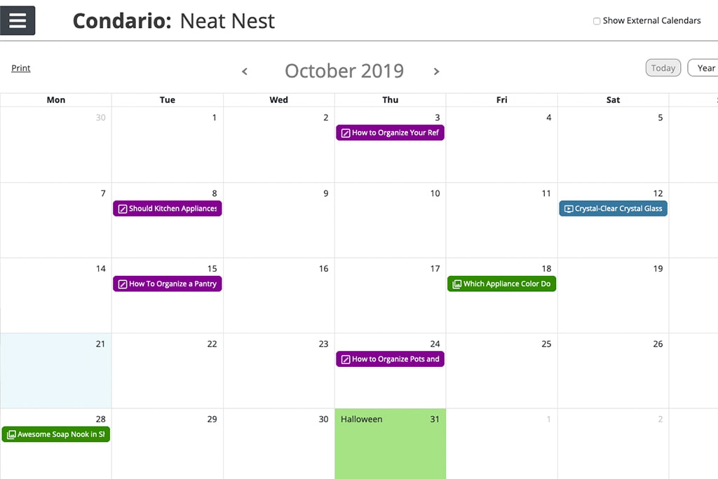 A single-month view of the October 2019 Condario content calendar by Oneupweb.