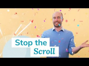 "Man stands among flying confetti, behind the video title ""Stop the Scroll"""