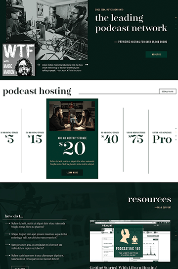 Oneupweb-designed website for podcasting network features dark background, bold pricing slider, and stylized photography