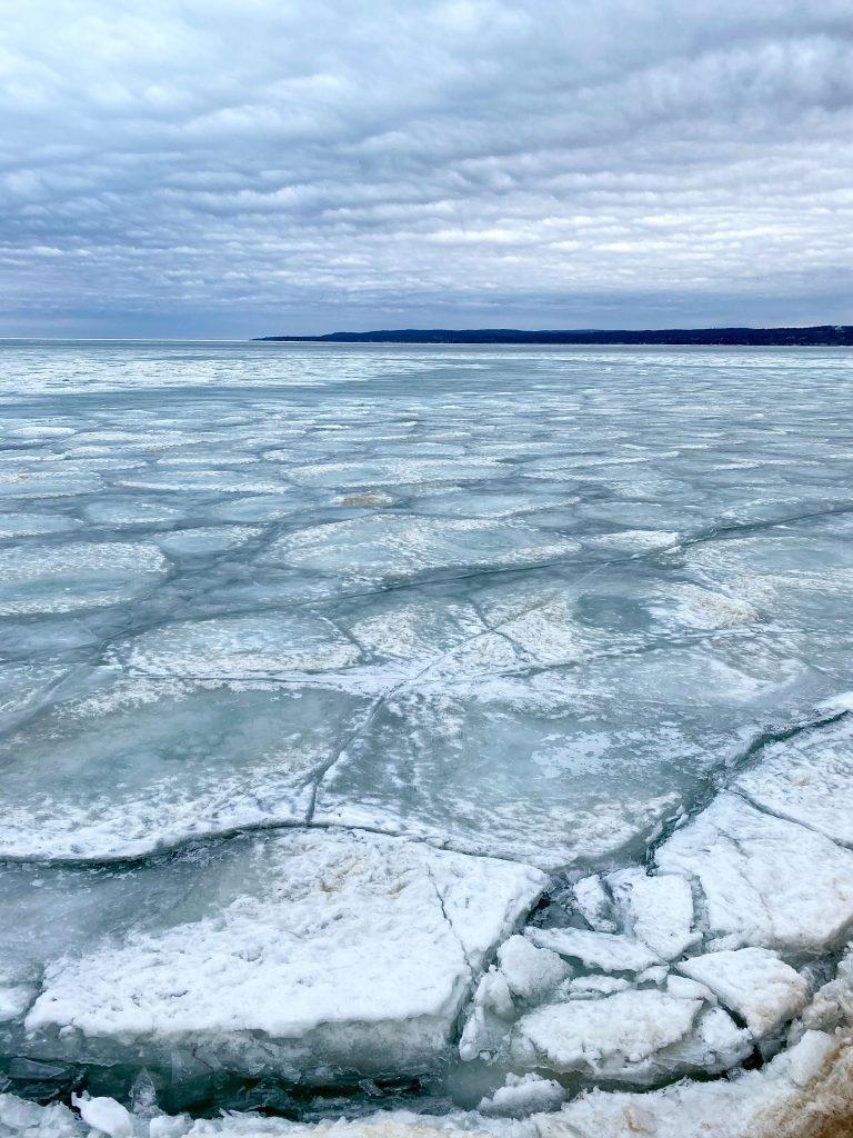 Ice with large cracks on Lake Michigan