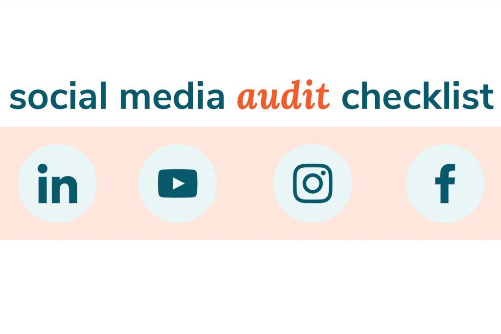 Social media audit checklist graphic with platform icons