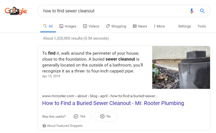 a featured snippet owned by mr rooter showing the answer to a popular query in google