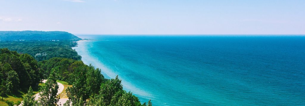 Aerial view of Lake Michigan shoreline with trees