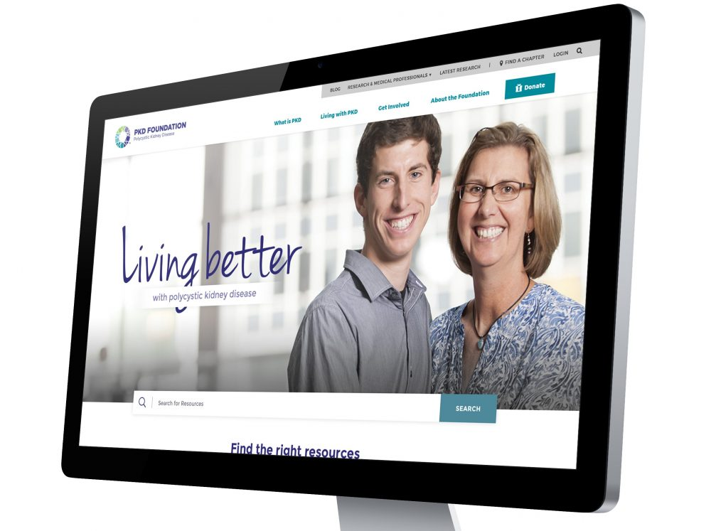 a computer monitor showing a landing page for the polycystic kidney disorder (PKD) foundation website with landing page design from oneupweb