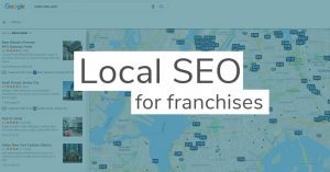 Local SEO for franchises written over a screenshot of a google map of hotels in New York