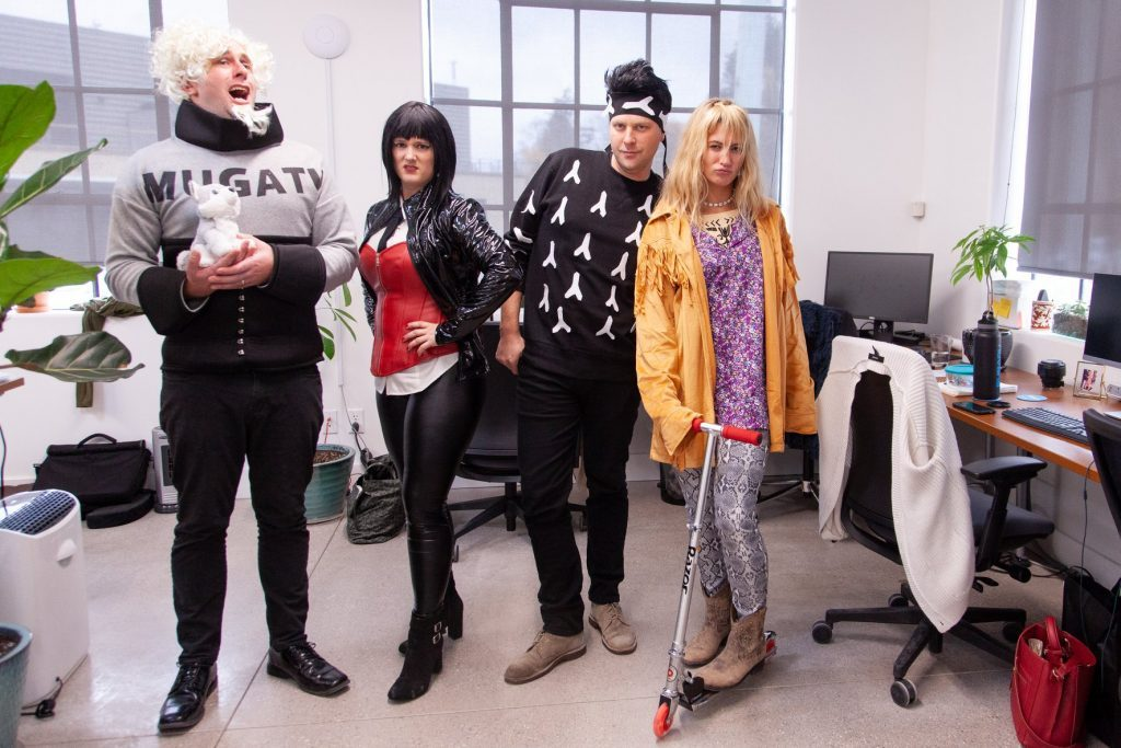 the oneupweb sales and marketing team dressed up as the characters from Zoolander