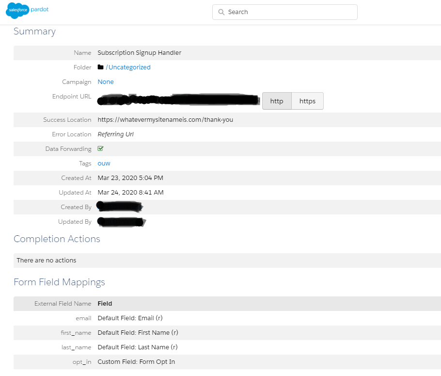 Salesforce subscription signup endpoint URL