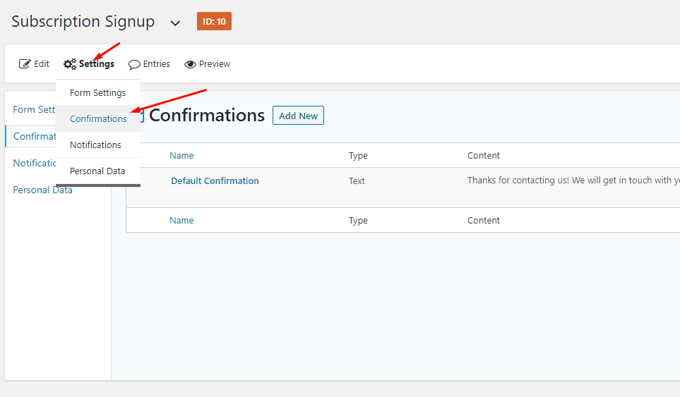 Subscription Signup confirmation messaging