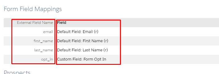 Subscription form field mappings