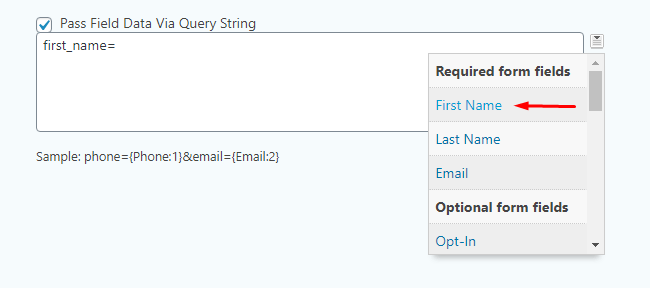 Subscription form required fields list