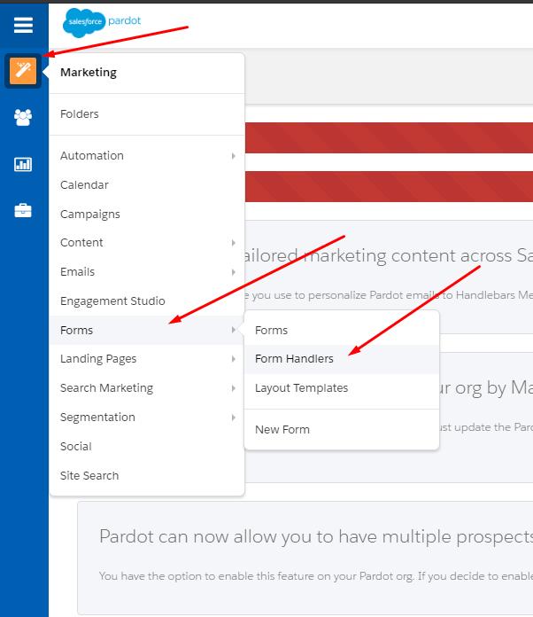 Salesforce navigation menu, marketing form handlers