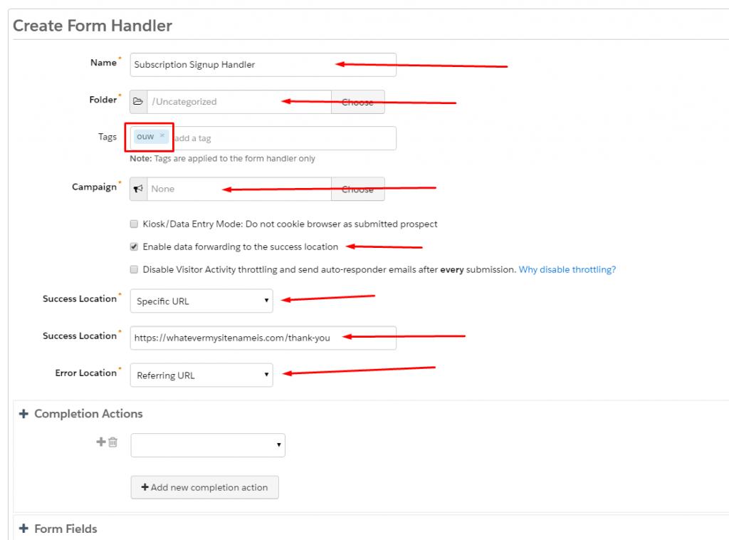 Creating subscription signup handler in Salesforce